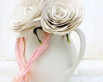 4th Anniversary Natural Linen Fabric Flowers check processing and delivery times