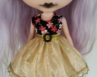 Gold Sakura dress for Blythe and Pullip