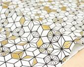 Japanese Fabric asagao metallic - black, white, gold - 50cm