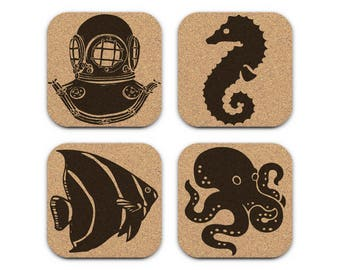 Deep Sea Diving Helmet Fish Seahorse Octopus Nautical Coastal Cork Coaster Set Of 4 Home Decor Barware Decoration