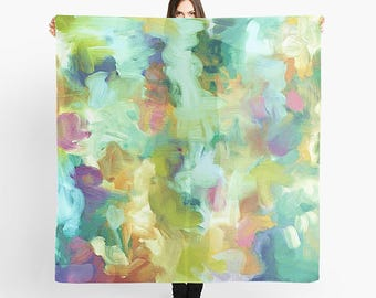 Women's Scarf, Mint Green, Art Scarf, Turquoise Blue, Summer Scarf, Apple Green, Square Scarf, Dark Pink, Lightweight Scarf, Green Scarf