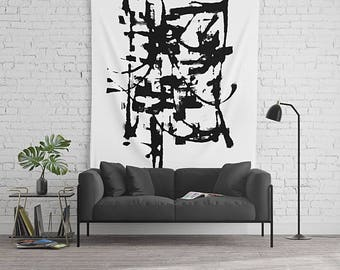 Black And White, Modern Art Tapestry, Wall Tapestry, Minimalist Wall Art, Large Wall Art, Dorm Room Decor, Art Wall Hanging, Minimalist Art