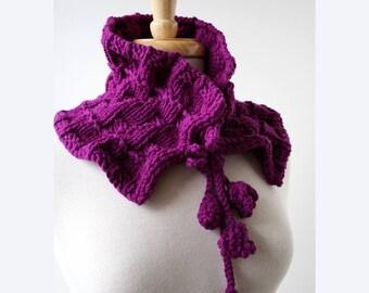 FUCHSIA PURPLE Victoriana Merino Wool Hand Knit Scarflette, Scarf, Collar, Berry, Fuchsia, Ruffle, Women, Romantic, Elegant, Victorian