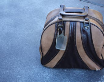 VINTAGE 2 toned / bi-colored BRUNSWICK brand bowling bag