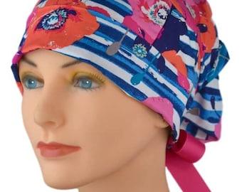 Scrub Hats // Scrub Caps // Scrub Hats for Women // The Hat Cottage // Small // Ribbon Ties // Poppies