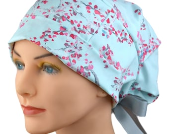 Surgical Scrub Cap or Cancer Hat - Small - Ribbon Ties -Enchanted