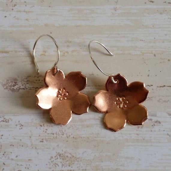 Copper and Sterling Silver Sakura Flower Dangle Earrings