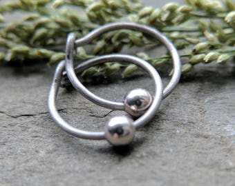 sterling silver hoop earrings, titanium hoop earrings, surgical steel hoop earrings, simple silver, quicksilver by thebeadedlily