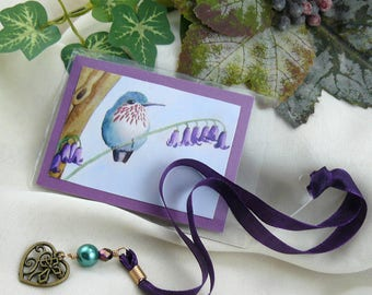 Hummingbird Art ~ Hummingbird Book Mark ~ Watercolor Hummingbird ~ Hummingbird Print ~ Blue Hummingbird ~ Art Bookmark ~ Watercolor Art