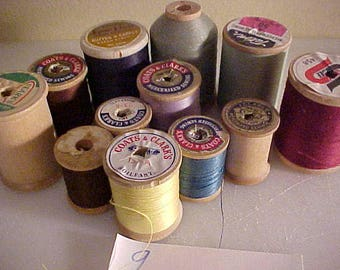 lot of 12 vintage Wooden Sewing Spools #9