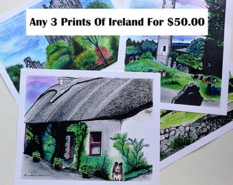 Any 3 Fine Art Prints of Ireland, Watercolor Paintings, Castles, Cottages, Travel, Europe, Dublin, Blarney Castle, Ring of Kerry, Dog, Sheep