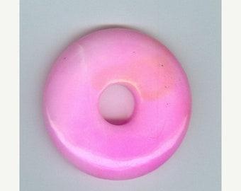 PI DAY SALE 45mm Pink Jade Gemstone Pi Donut Focal Pendant Bead Doughnut 453
