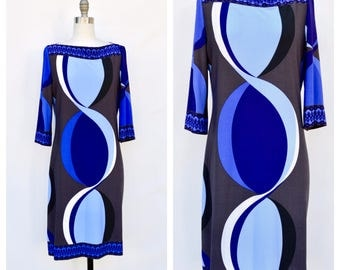 MOD psychedelic inspired hippie dress / Emilio Pucci inspired dress / medium