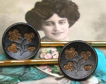 Antique BUTTON gold bobby pins, Victorian perfume buttons on gold hair grips.