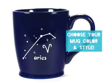 Aries Zodiac Constellation Mug - Choose Your Cup Color