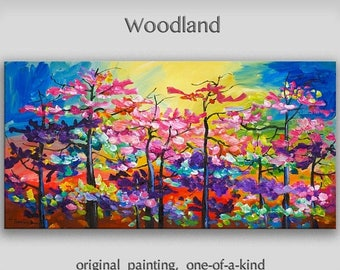 Sale Woodland Landscape Painting Wall art Original abstract painting Oil painting canvas art Modern decor Wall hanging by Tim Lam 48x24