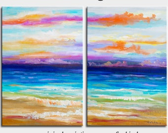 Sale Beach art abstract painting turquoise Sea Colorful Sky Landscape Painting by Tim Lam 48x36