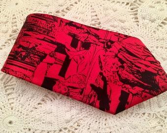 Rare WideGuys Red Black Figural Men's Tie - 1980s - Italian Silk - Red Black - Men's Tie