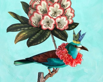 Botanical print, bird print, collage print, crown, vintage bird prints, flower print, vintage flower print, rhododendron, royalty, bluebird