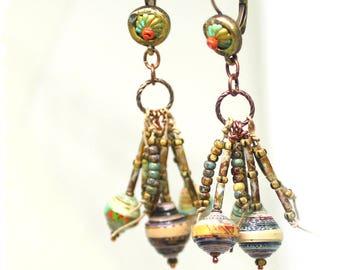 Gypsy cluster earrings for women, Tribal statement earrings, Festival earrings, Paper bead dangle earrings*