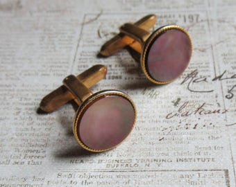 Vintage Cufflinks Inlaid with Abalone, in Gold Filled Bezel by Hickok Company, Toggle Bar Closure, For Wedding, Business