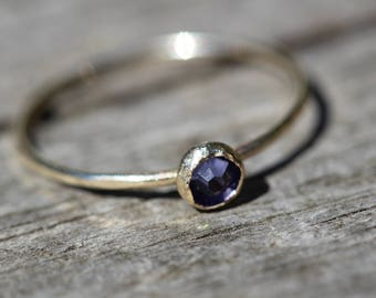 gold filled rustic tanzanite swarovski hammered stacking ring handcrafted any size