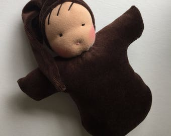 8 inch brown waldorf doll root baby