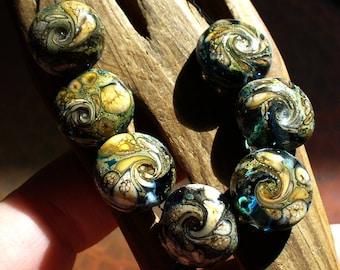 Lampwork beads/SRA lampwork/ beads/ silver/ ivory/  blue/