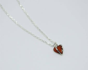 Red Enamelled Heart Pendant Necklace in Sterling Silver