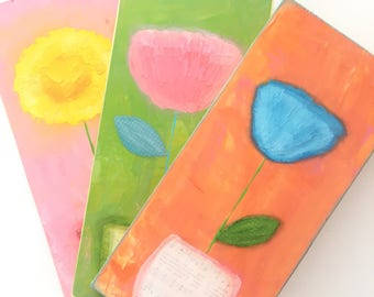 abstract flower painting. Textured flower painting. colorful wall art. bright colored set of 3 wall art. girls room decor. flower artwork.