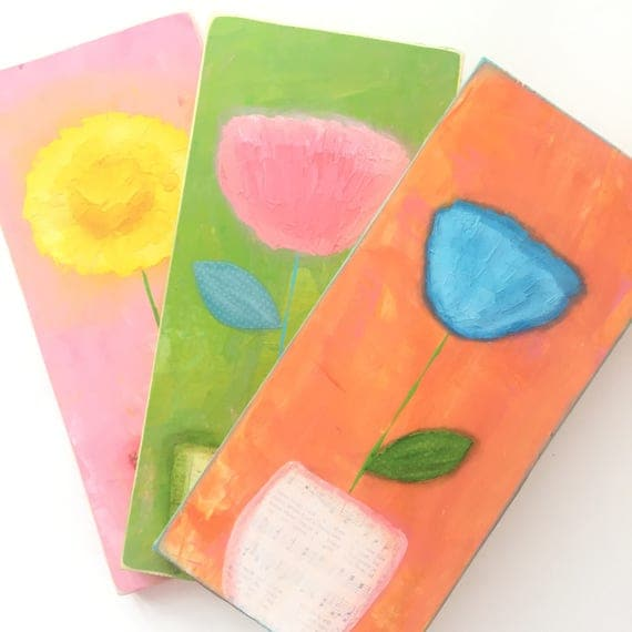 colorful flower wall art. Textured flower painting acrylic.  bright colored set of 3 colorful wall art. girls room decor. flower artwork.