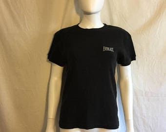 SALE 25% off SALE EVERLAST ribbed black t shirt 90s,  workout work out t shirt
