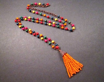 Tassel Pendant Necklace, Rainbow Wood Beaded, Copper Chain Necklace, FREE Shipping U.S.