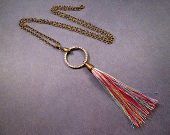 Rainbow Tassel Necklace, Rhinestone Ring Pendant Necklace, Brass Chain Necklace, FREE Shipping U.S.