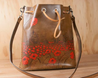 Leather Purse - Drawstring Bucket Bag in the Oz Pattern - Wizard of Oz Gift for Her - Poppies, Dorothy, Cowardly Lion, Tin Man, Scarecrow