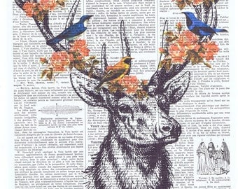 Deer,birds.Collage.Fantasy. Antique Book Pages Print, handmade gift.home decor,vintage,retro.french.art.birthday.nursery.flowers.art.child