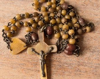 Vintage Antique Celluloid Religious Rosary Beads Art Deco Necklace