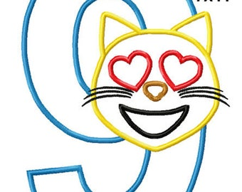 Cat Face Birthday 9 Machine Applique Design Embroidery Pattern 5x7 6x10 7x11 INSTANT DOWNLOAD