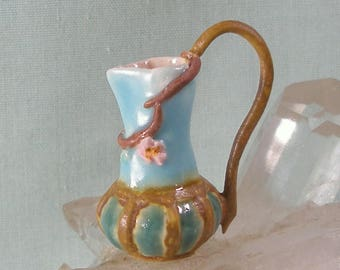 Tall Dollhouse Size Arts and Crafts / Art Nouveau Pitcher in One Inch Scale