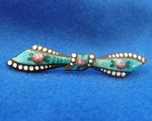 Antique Brooch, Guilloche, Bow, C-Clasp, Roses, Blue & Pink Enamel, ca 1930s NT-1346 RESERVED for dkh704