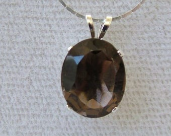 Smoky Quartz Pendant, 2.63 ct, 11x9mm, Sterling Silver Setting with Sterling Silver Chain, 16-in., SQ-02