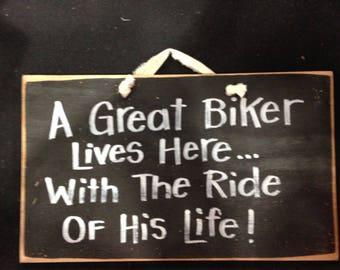 Great BIKER lives here with ride of life sign wood motorcycle gift door hanger