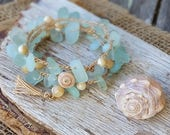 Aqua Beach Glass Bracelet Wrap, Sea Glass Wrap Bracelet, Crocheted Bracelet, Stacking Bracelet, Bridesmaid Gift, Beach Wedding