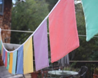 12 Square Bunting Flag Banner, Custom Colors, Solid Fabric, Extra Large Square Shaped Flags. Prayer Flags. Wedding  or Shower Idea.