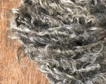 Silver curly mohair  yarn, 20 yards, undyed bulky art yarn, natural mohair yarn, rustic yarn, textured yarn, undyed mohair yarn