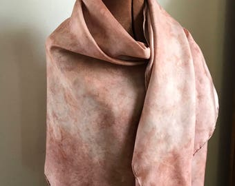 Madder dyed naturally dyed silk scarf, large square scarf, rustic chic
