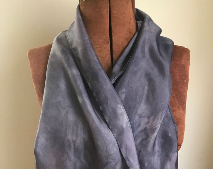 Elderberry dyed  silk scarf, purple naturally dyed scarf