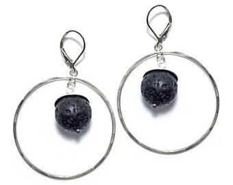 ON SALE Sterling Silver Hoop Black Lava Rock Dangle Earrings