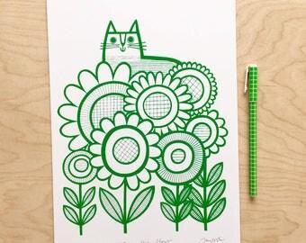 Cat in Flowers Screen Print by Jane Foster - Scandi monochrome green