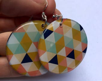 Geometric Triangles Large Resin Earrings in pastels, pink and navy blue